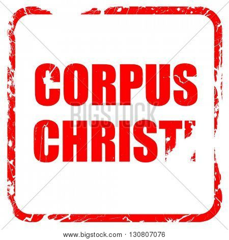 corpus christi, red rubber stamp with grunge edges