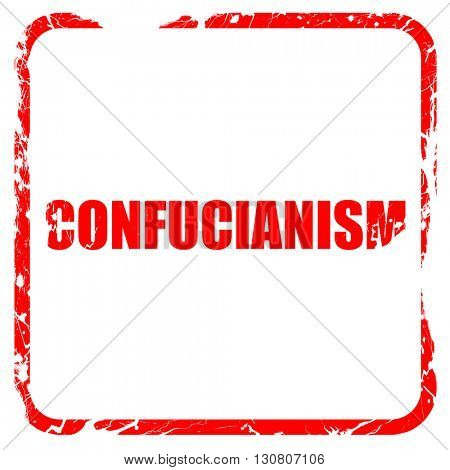 confucianism, red rubber stamp with grunge edges