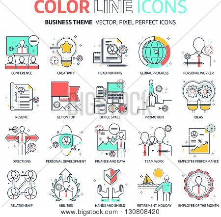 Color line business illustrations icons backgrounds and graphics. The illustration is colorful flat vector pixel perfect suitable for web and print. It is linear stokes and fills.