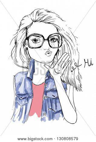 fashion girl with glitter illustration 5