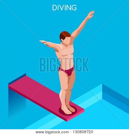 Diving Summer Games Icon Set.3D Isometric Diver.Diving Sporting Competition Race.Sport Infographic Diving Vector Illustration