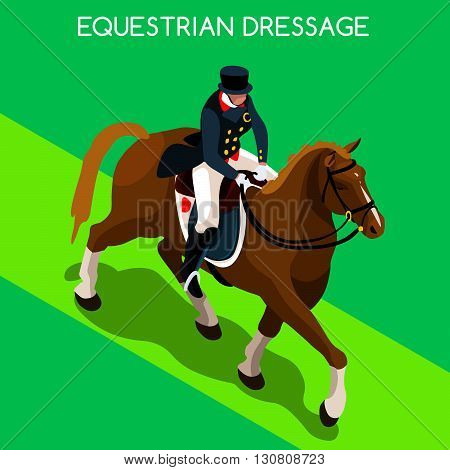 Equestrian Dressage Summer Games Icon Set.3D Isometric Jockey and Horse Sporting Competition.Sport Infographic Equestrian Dressage Vector Illustration