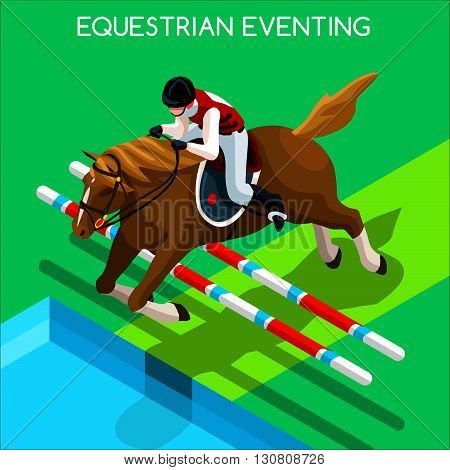 Equestrian Eventing Summer Games Icon Set.3D Isometric Jockey and Horse Jump Sporting Competition.Sport Infographic Equestrian Eventing Vector Illustration