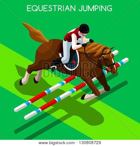 Equestrian Jumping  Summer Games Icon Set.3D Isometric Jockey and Horse Jump Sporting Competition.Sport Infographic Equestrian Jumping Vector Illustration