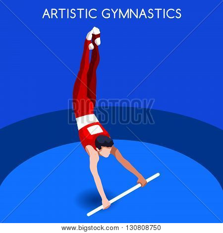 Artistic Gymnastics High Bar Summer Games Icon Set.3D Isometric Gymnast.Sporting Championship International Competition.Sport Infographic Artistic Gymnastics Vector Illustration