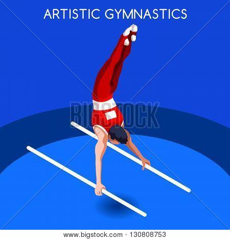 Artistic Gymnastics Parallel Bars Summer Games Icon Set.3D Isometric Gymnast.Sporting Championship International Competition.Sport Infographic Artistic Gymnastics Vector Illustration