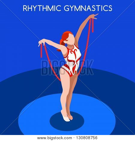 Rhythmic Gymnastics Rope Summer Games Icon Set.3D Isometric Gymnast.Sporting Championship International Competition.Sport Infographic Rhythmic Gymnastics Vector Illustration