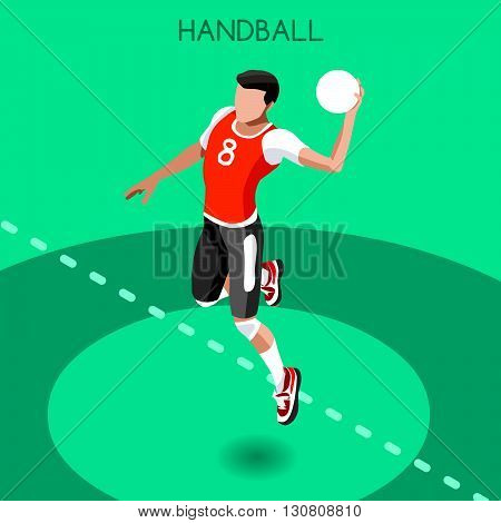Handball Summer Games Icon Set.3D Isometric Athlete.Sporting Championship International Handball Competition.Sport Infographic Handball Vector Illustration
