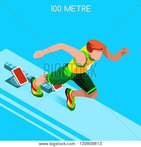 Running 100 Metres Dash of Athletics Summer Games Icon Set.Speed Concept.3D Isometric Athlete.Sport of Athletics.Sporting Competition Race Runner.Sport Infographic Track Field Vector Illustration