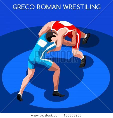 Greco Roman Wrestling Summer Games Icon Set.3D Isometric Fighting Athletes.Sporting Championship International Wrestling Competition.Sport Infographic Wrestling Vector Illustration
