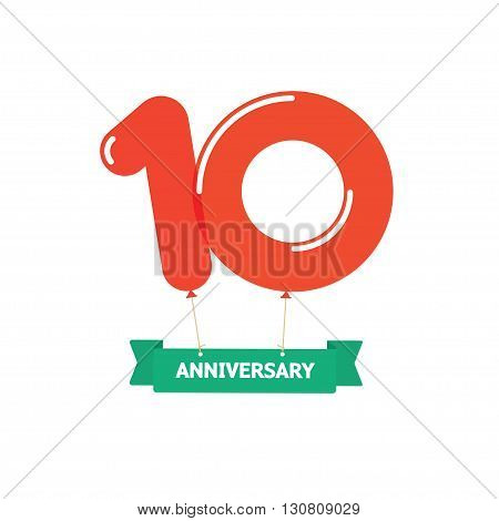 10th anniversary balloons poster red label. 10 years trend modern icon sticker design. Ten years birthday party glossy balloon vector symbol. Tenth cartoon child style ribbon, emblem tag sign