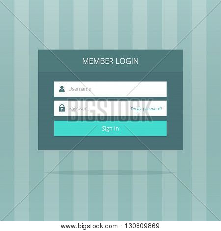 Login box, login form, login ui interface elements, login screen, sign in blue button, log in icons, simple login button flat modern window vector design on grey striped background