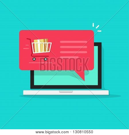Laptop with shopping cart full, red speech bubble vector illustration, online ordering notification concept, ecommerce, order delivery service modern flat icon design isolated on blue background