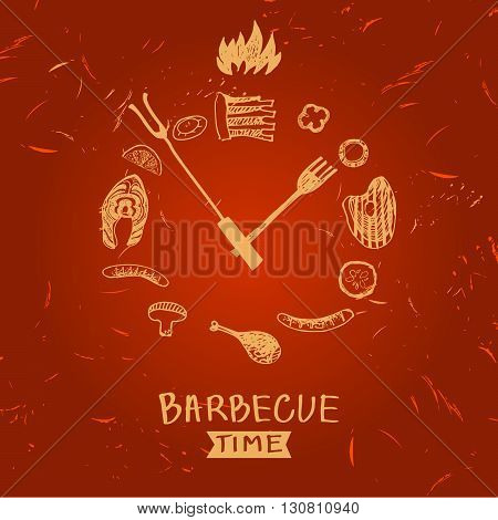 Vector lettering hand drawn logo with fire for barbecue party. Illustration with sparks of fire for grill time party.  Print restaurant menu, posters, banner. Time for  barbecue.