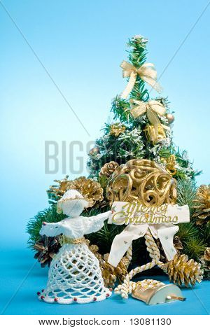 Christmas decoration on blue background.