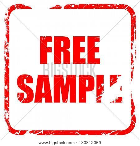 free sample sign, red rubber stamp with grunge edges