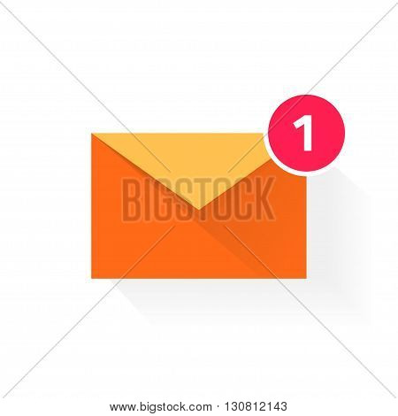 Orange envelope with red badge icon, concept of email received, application symbol, electronic mail, incoming e-mail, flat modern design vector illustration isolated on white background