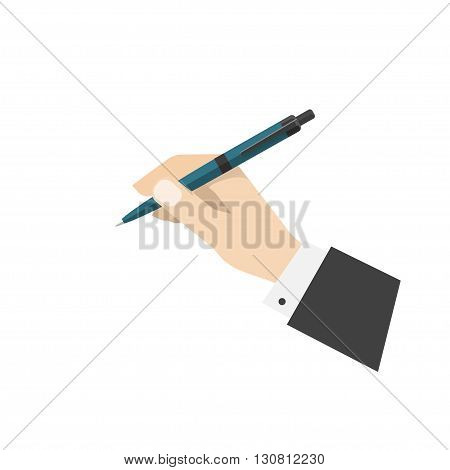Hand holding ball pen illustration, biro pen in hand ready to write or draw or make note, ballpoint pen flat cartoon icon design isolated on white background image