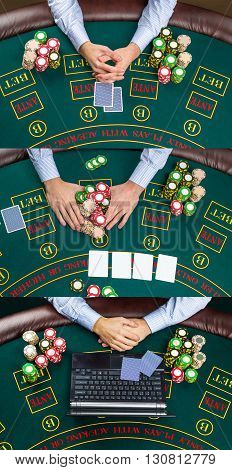 Collage of casino, online gambling, technology, people concept - close up of poker player with playing cards, laptop, chips at green casino table