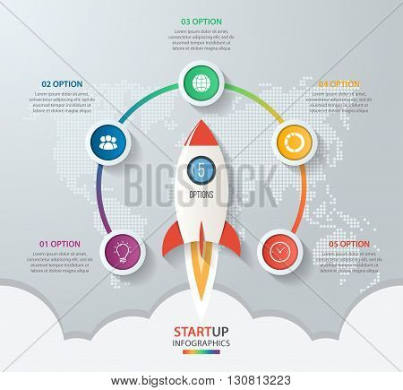 Startup vector circle infographics with rocket launch and styled world map. 5 options parts steps processes business concept for graphs charts diagrams.