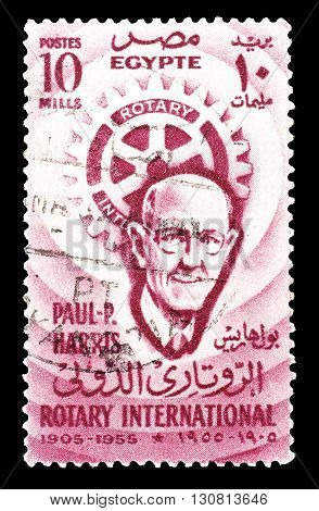 EGYPT - CIRCA 1955 : Cancelled postage stamp printed by Egypt, that shows Paul Harris and Rotary emblem.