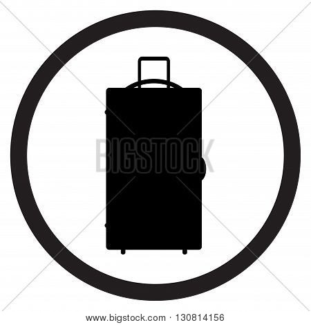 Luggage icon black white. Suitcase travel and luggage bag baggage or luggage isolated. Vector flat design illustration