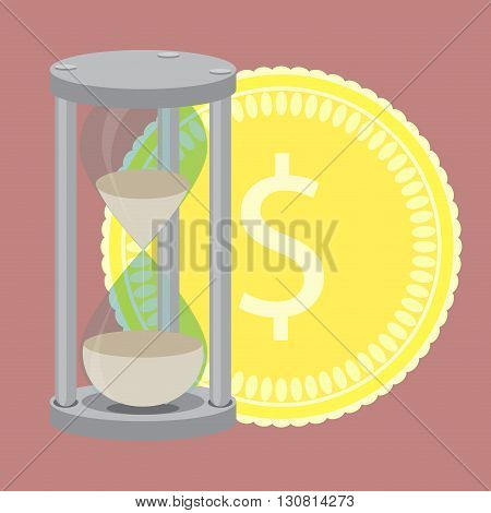 Time is money. Hourglass with silver coin vector. Time management and money clock save time and clock money hourglass money and golden dollar investment in time. Vector flat design illustration