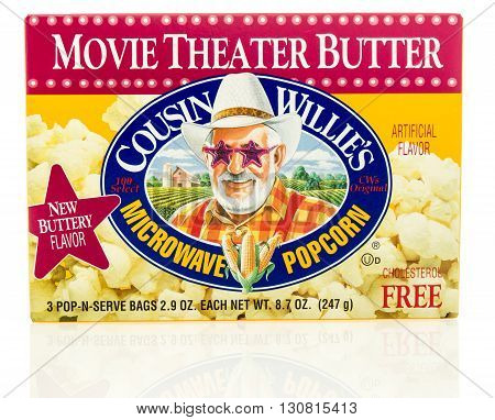 Winneconne WI - 19 May 2016: Box of Cousin Willie's micorwave popcorn on an isolated background