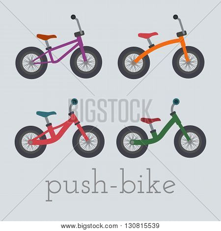 Vector push-bike set illustration. Mini push-bike isolated on white background. push bike vector. push bike set illustration. Mini bike isolated vector