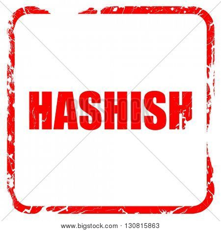 hashish, red rubber stamp with grunge edges