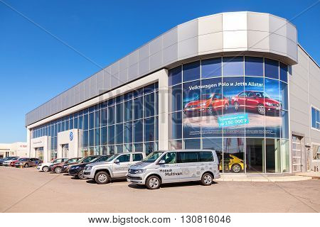 SAMARA RUSSIA - MAY 14 2016: New cars parked up near the office building of official dealer Volkswagen. Volkswagen Group is the biggest German automaker