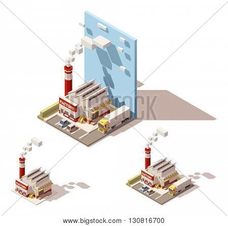 Vector Isometric icon or infographic element representing industrial block, factory or plant, smoking factory pipe or chimney, truck with semi-trailer on the factory yard