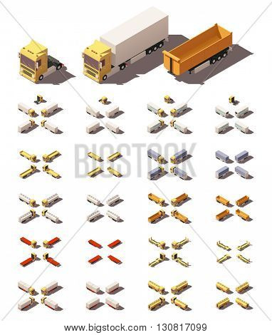 Vector Isometric icon or infographic element representing trucks or tractors with different trailers and semi-trailers. Every truck and trailer in four views with different shadows