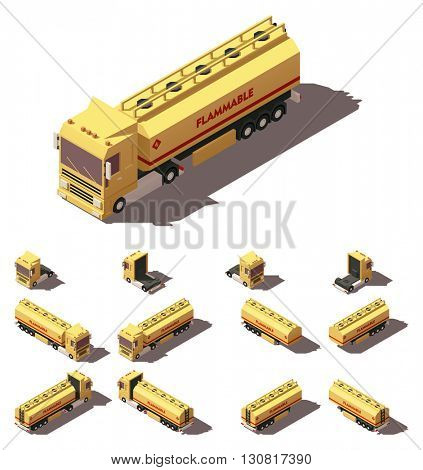 Vector Isometric icon or infographic element representing truck or tractor with tanker trailer or semi-trailer. Every truck and trailer in four views with different shadows