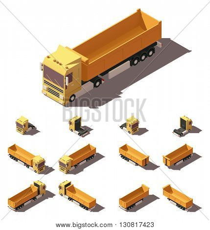 Vector Isometric icon or infographic element representing truck or tractor with tipper trailer or semi-trailer. Every truck and trailer in four views with different shadows
