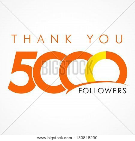 Thank you 5000 followers logo. The vector thanks card for network friends with 5000 numbers text