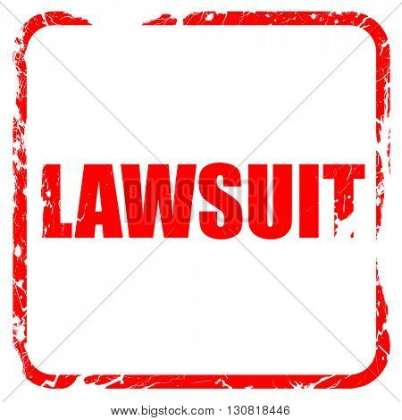lawsuit, red rubber stamp with grunge edges