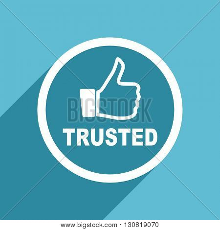 trusted icon, flat design blue icon, web and mobile app design illustration