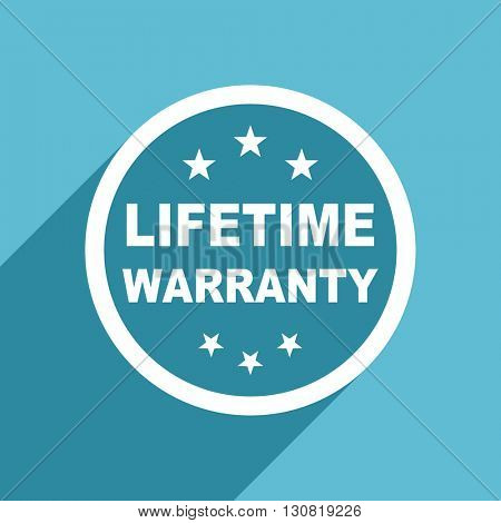 lifetime warranty icon, flat design blue icon, web and mobile app design illustration