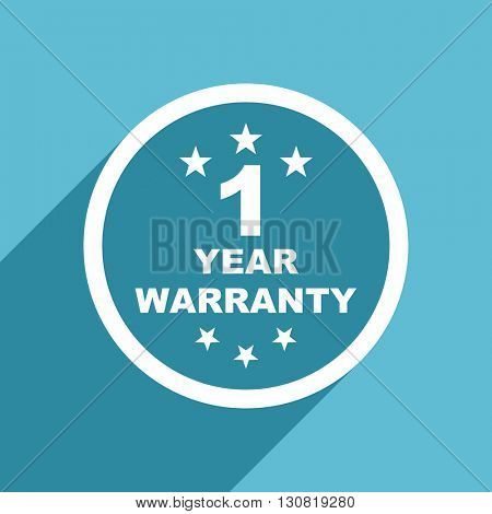 warranty guarantee 1 year icon, flat design blue icon, web and mobile app design illustration