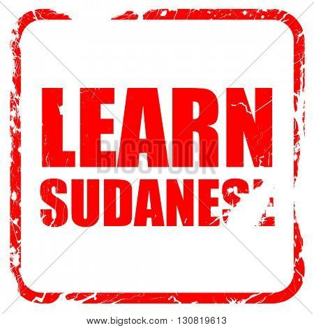 learn sudanese, red rubber stamp with grunge edges