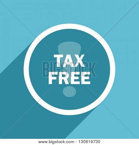 tax free icon, flat design blue icon, web and mobile app design illustration