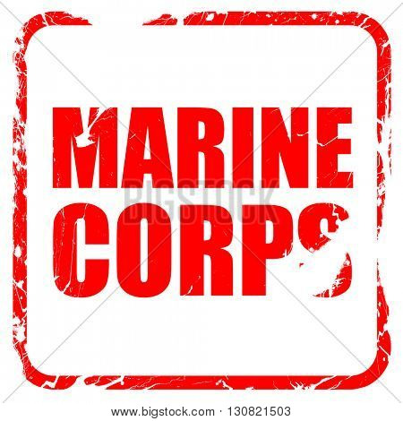marine corps, red rubber stamp with grunge edges