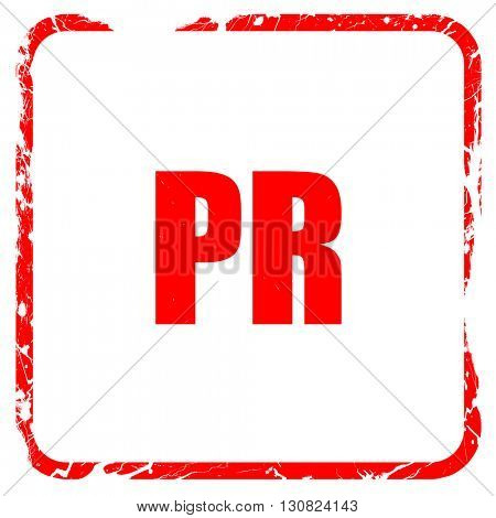 pr, red rubber stamp with grunge edges