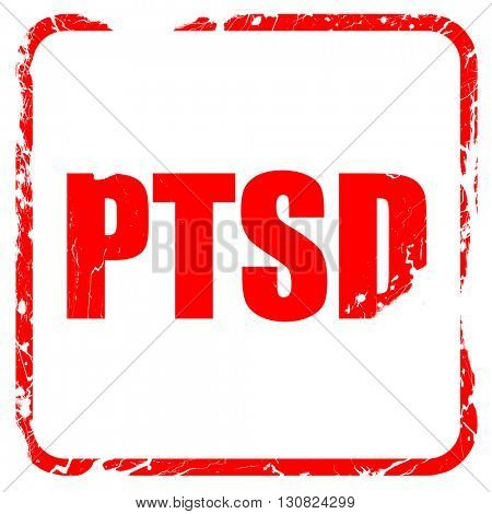 ptsd, red rubber stamp with grunge edges