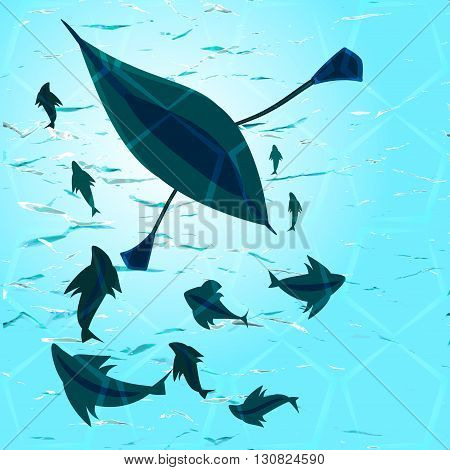 vector illustration of a rowing boat and a school of fish in the deep water