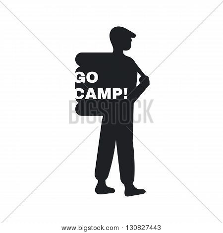 Logo for the campground. An emblem of the person with a backpack and the inscription go camp