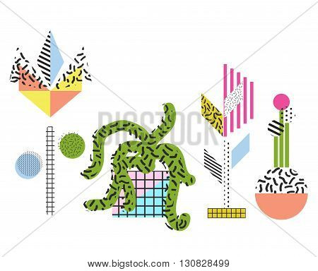 Abstract memphis style flowers and plants vector illustrations. Color blocs and geometric elements retro 80s style.