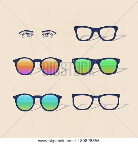 set of hipster sun glasses with eyes