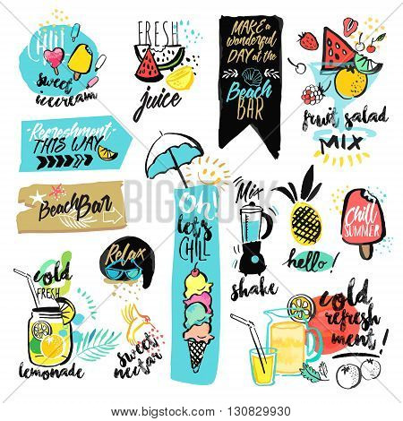 Set of hand drawn watercolor ribbons and stickers of summer. Vector illustrations for summer holiday, travel and vacation, restaurant and bar, menu, sea and sun, beach vacation and party.